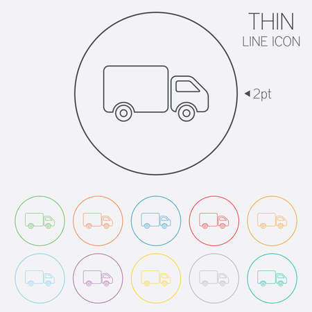 cargo van: Delivery truck sign icon. Cargo van symbol. Thin line circle web icons with outline. Vector