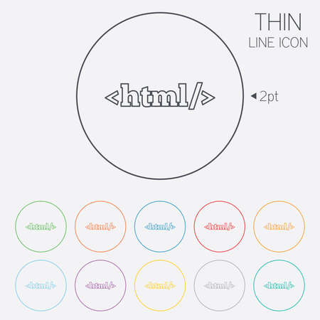 markup: HTML sign icon. Markup language symbol. Thin line circle web icons with outline. Vector