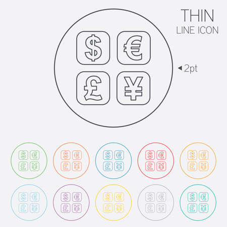 currency converter: Currency exchange sign icon. Currency converter symbol. Money label. Thin line circle web icons with outline. Vector