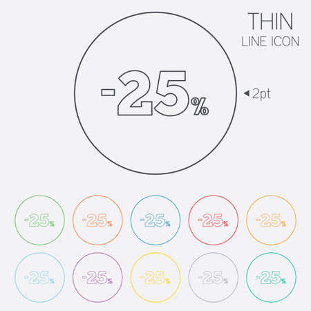 25 percent discount sign icon. Sale symbol. Special offer label. Thin line circle web icons with outline. Vector Vector