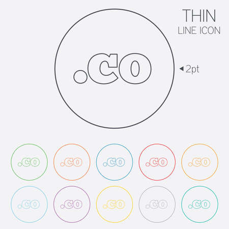 co: Domain CO sign icon. Top-level internet domain symbol. Thin line circle web icons with outline. Vector