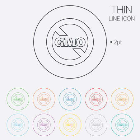genetically: No GMO sign icon. Without Genetically modified food. Stop GMO. Thin line circle web icons with outline. Vector Illustration