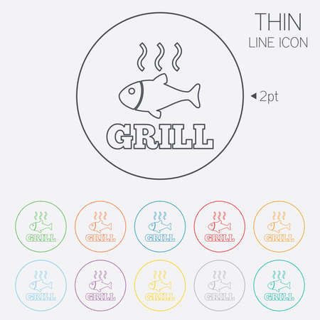 fry: Fish grill hot sign icon. Cook or fry fish symbol. Thin line circle web icons with outline. Vector Illustration