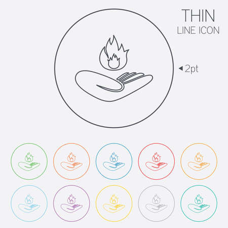 Insurance against fire sign icon. Hand holds fire flame symbol. Thin line circle web icons with outline. Vector Vector
