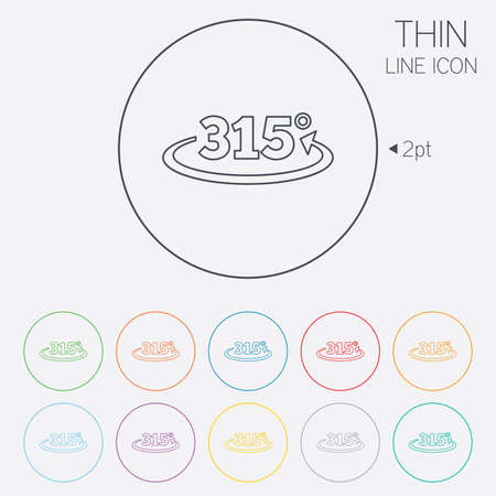 fifteen: Angle 315 degrees sign icon. Geometry math symbol. Thin line circle web icons with outline. Vector Illustration