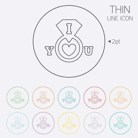 i love you sign: I Love you sign icon. Valentines day symbol. Thin line circle web icons with outline. Vector Illustration