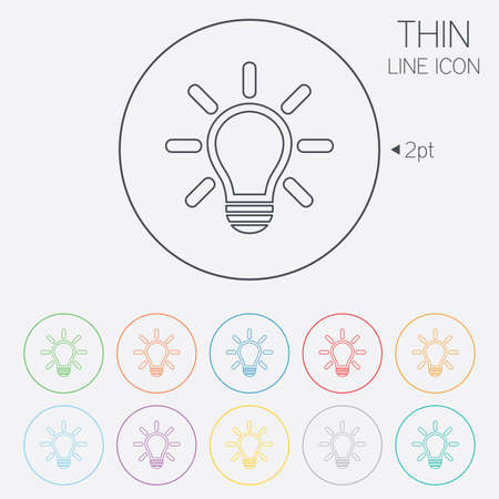 thin bulb: Light lamp sign icon. Idea symbol. Light is on. Thin line circle web icons with outline. Vector