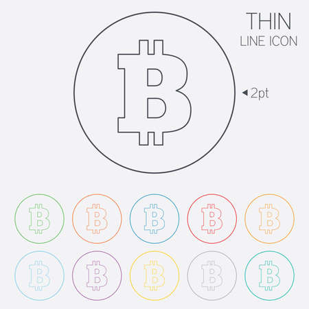 p2p: Bitcoin sign icon. Cryptography currency symbol. P2P. Thin line circle web icons with outline. Vector Illustration