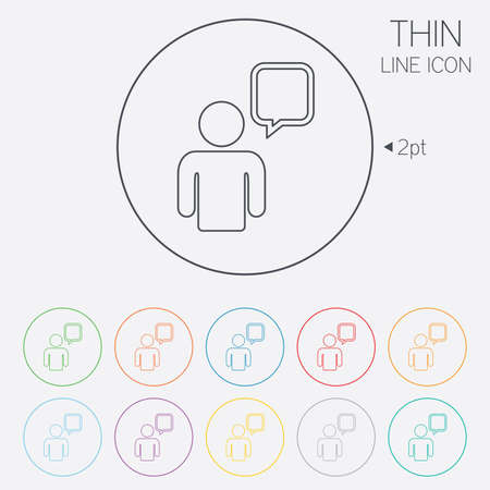 Chat sign icon. Speech bubble symbol. Chat bubble with human. Thin line circle web icons with outline. Vector Vector