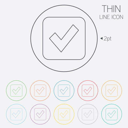 Check mark sign icon. Checkbox button. Thin line circle web icons with outline. Vector Vector