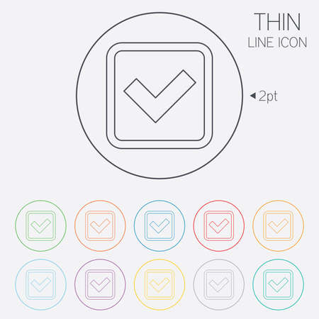 Check mark sign icon. Yes square symbol. Confirm approved. Thin line circle web icons with outline. Vector Vector