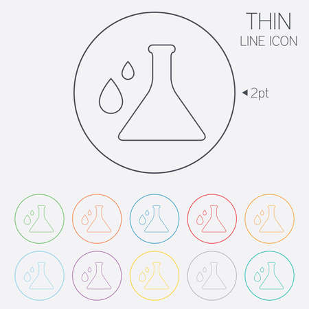 thin bulb: Chemistry sign icon. Bulb symbol with drops. Lab icon. Thin line circle web icons with outline. Vector