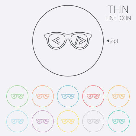 coder: Coder sign icon. Programmer symbol. Glasses icon. Thin line circle web icons with outline. Vector