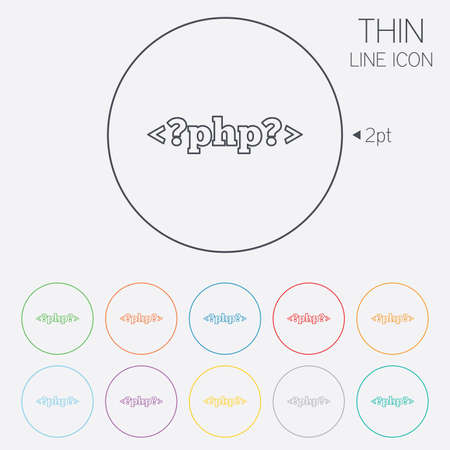 php: PHP sign icon. Programming language symbol. Thin line circle web icons with outline. Vector Illustration