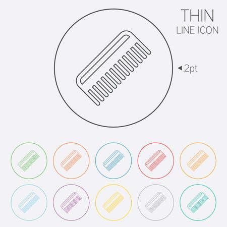 comb hair: Pettine capelli sign icon. Simbolo Barber. Thin Line cerchio icone web con contorno. Vettore