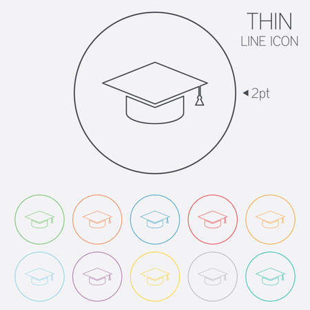 Graduation cap sign icon. Higher education symbol. Thin line circle web icons with outline. Vector Illustration