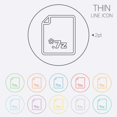 zipped: Archive file icon. Download compressed file button. 7z zipped file extension symbol. Thin line circle web icons with outline. Vector Illustration