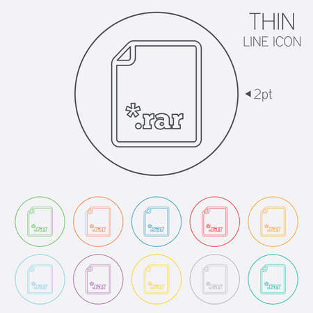 rar: Archive file icon. Download compressed file button. RAR zipped file extension symbol. Thin line circle web icons with outline. Vector Illustration