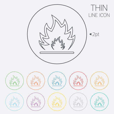 Fire flame sign icon. Heat symbol. Stop fire. Escape from fire. Thin line circle web icons with outline. Vector Vector