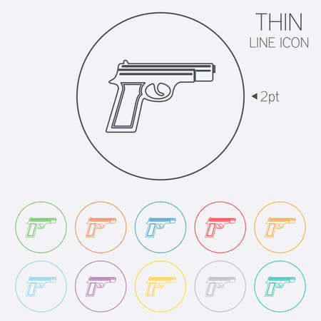 Gun sign icon. Firearms weapon symbol. Thin line circle web icons with outline. Vector Vector