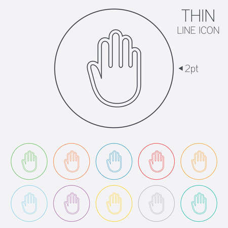 give me five: Hand sign icon. No Entry or stop symbol. Give me five. Thin line circle web icons with outline. Vector Illustration
