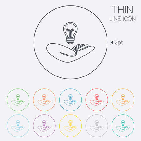 thin bulb: Idea patent insurance sign. Hand holds lamp bulb symbol. Intellectual Property. Thin line circle web icons with outline. Vector
