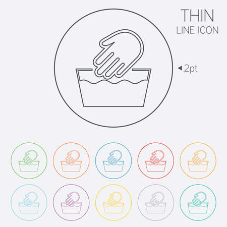 washable: Hand wash sign icon. Not machine washable symbol. Thin line circle web icons with outline. Vector