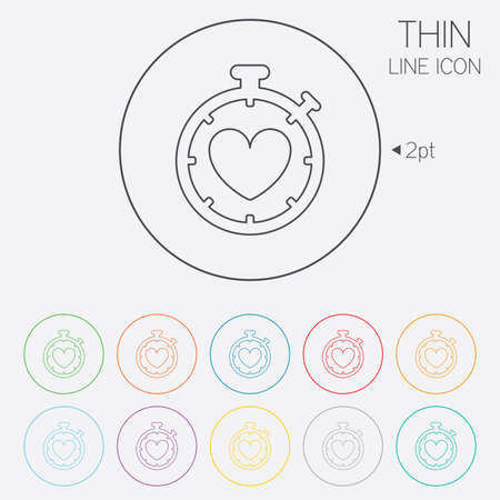 heartbeat line: Heart Timer sign icon. Stopwatch symbol. Heartbeat palpitation. Thin line circle web icons with outline. Vector Illustration