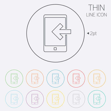 incoming: Incoming call sign icon. Smartphone symbol. Thin line circle web icons with outline. Vector Illustration