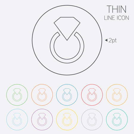 Jewelry sign icon. Ring with diamond symbol. Thin line circle web icons with outline. Vector Vector