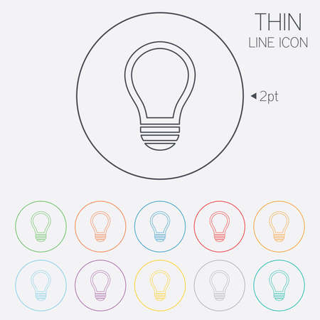 lamp outline: Light lamp sign icon. Idea symbol. Thin line circle web icons with outline. Vector