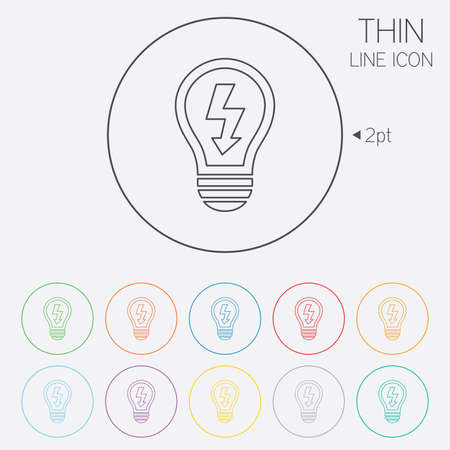 thin bulb: Light lamp sign icon. Bulb with lightning symbol. Idea symbol. Thin line circle web icons with outline. Vector