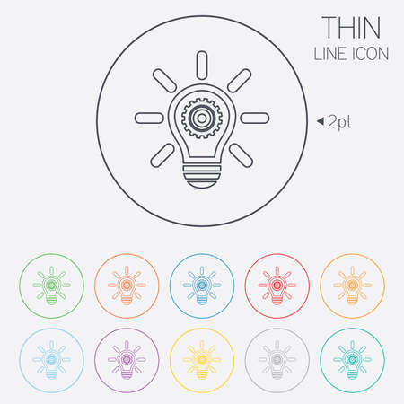 thin bulb: Light lamp sign icon. Bulb with gear symbol. Idea symbol. Thin line circle web icons with outline. Vector Illustration