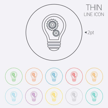 thin bulb: Light lamp sign icon. Bulb with gears and cogs symbol. Idea symbol. Thin line circle web icons with outline. Vector