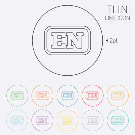 en: English language sign icon. EN translation symbol with frame. Thin line circle web icons with outline. Vector