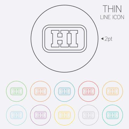 hindi: Hindi language sign icon. HI India translation symbol with frame. Thin line circle web icons with outline. Vector Illustration