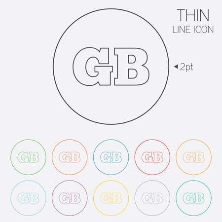 gb: British language sign icon. GB Great Britain translation symbol. Thin line circle web icons with outline. Vector Illustration