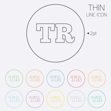 tr: Turkish language sign icon. TR Turkey translation symbol. Thin line circle web icons with outline. Vector