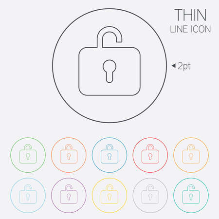 Lock Sign Icon Login Symbol Thin Line Circle Web Icons With