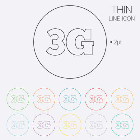 3g: 3G sign icon. Mobile telecommunications technology symbol. Thin line circle web icons with outline. Vector Illustration