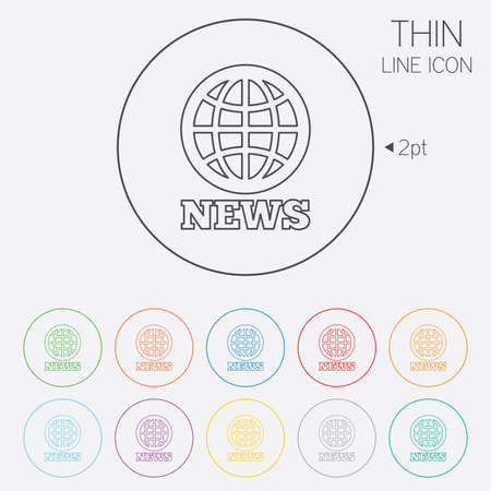 international news: News sign icon. World globe symbol. Thin line circle web icons with outline. Vector Illustration