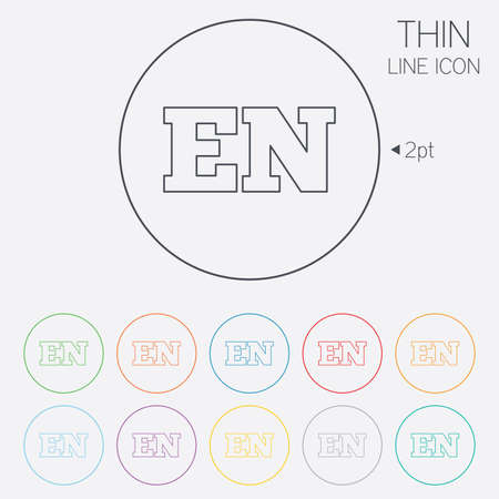 en: English language sign icon. EN translation symbol. Thin line circle web icons with outline. Vector
