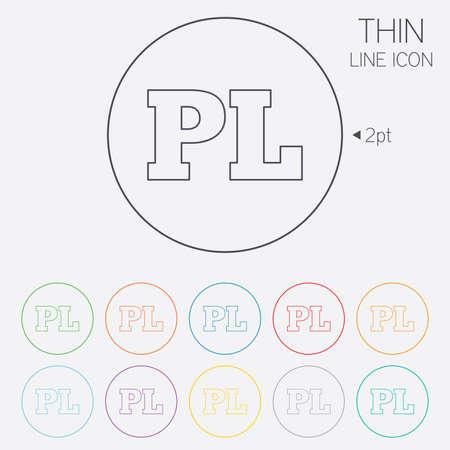 pl: Polish language sign icon. PL translation symbol. Thin line circle web icons with outline. Vector