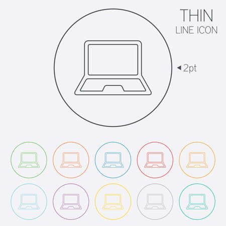 ultrabook: Laptop sign icon. Notebook pc symbol. Thin line circle web icons with outline. Vector