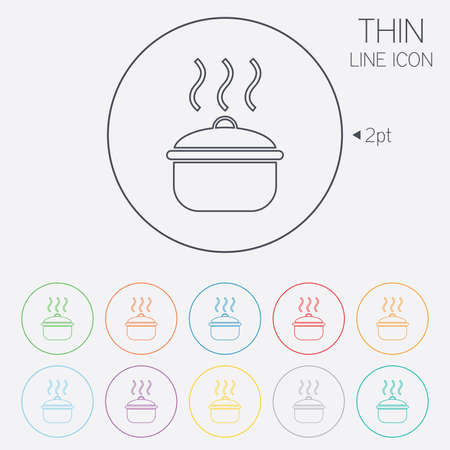 Cooking pan sign icon. Boil or stew food symbol. Thin line circle web icons with outline. Vector