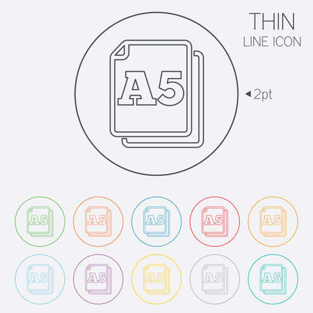 a5: Paper size A5 standard icon. File document symbol. Thin line circle web icons with outline. Vector