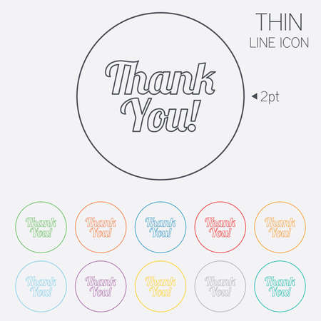 thanks a lot: Thank you sign icon. Customer service symbol. Thin line circle web icons with outline. Vector