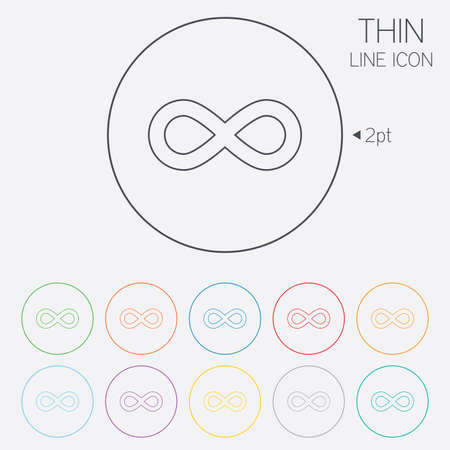 eternally: Limitless sign icon. Infinity symbol. Thin line circle web icons with outline. Vector Illustration