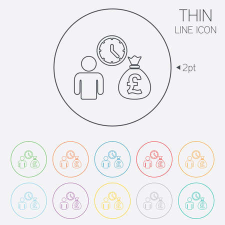 borrow: Bank loans sign icon. Get money fast symbol. Borrow money. Thin line circle web icons with outline. Vector