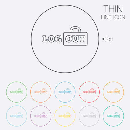 sign out: Logout sign icon. Sign out symbol. Lock icon. Thin line circle web icons with outline. Vector
